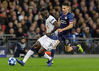 Football - 2017 / 2018 UEFA Champions League - Group B: Tottenham Hotspur vs. PSV Eindhoven<br /> <br /> Davinson Sanchez (Tottenham FC)  cuts the run od Hirving Lozano (PSV Eindhoven) at Wembley Stadium.<br /> <br /> COLORSPORT/DANIEL BEARHAM