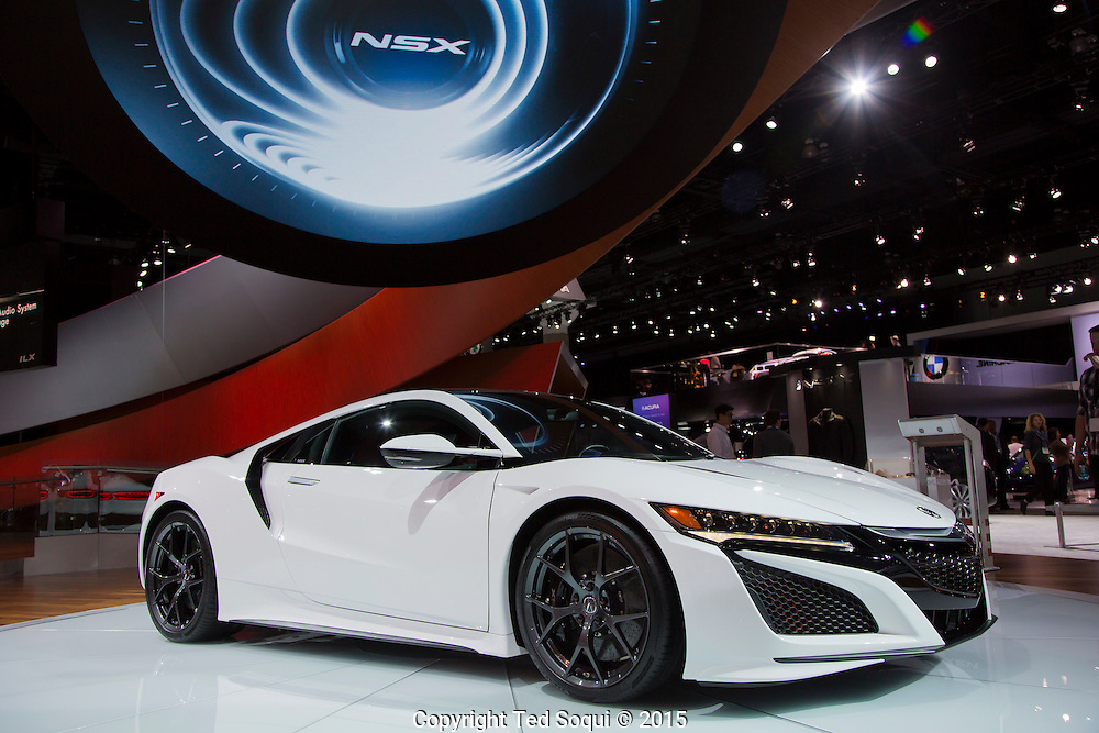 2017 Acura NSX. No price yet but will be around $150K USD. 573 HP with three electric motors. Only 800 will be made.<br /> The 2015 Los Angeles Auto Show at the LA Convention Center.