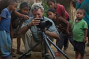 Pete Oxford with Naga head hunters<br /> Nagaland,  ne India
