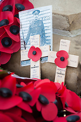 Arras to Afghan Two small wooden Cross remember the Fallen of two wars almost a century apart. One commemorates Sgt George Armitage of the Barnsley Pals who Fell at Arras during the First World war while the one beside is in memory of Royal Marine Dave MArsh who lost his Life in Afghanistan<br /> <br /> Remembrance Sunday Barnsley Marks the Centenary of the out break of World War I<br /> <br /> 09 November 2014<br /> <br /> Image © Paul David Drabble <br /> <br /> www.pauldaviddrabble.co.uk <br /> <br /> Image © Paul David Drabble <br /> <br /> www.pauldaviddrabble.co.uk