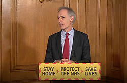 Screen grab of Director of Health Improvement at Public Health England, Professor John Newton, answering questions from the media via a video link during a media briefing in Downing Street, London, on coronavirus (COVID-19).