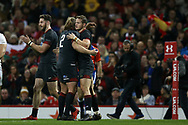 Hallam Amos of Wales ® celebrates with Alex Cuthbert of Wales (l) and Kristian Dacey of Wales (2) after he scores his teams 1st try. Under Armour 2017 series Autumn international rugby, Wales v Georgia at the Principality Stadium in Cardiff , South Wales on Saturday 18th November 2017. pic by Andrew Orchard, Andrew Orchard sports photography
