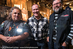 Horst and Lowride editor Giuseppe Roncen at a Harley-Davidson Cologne party during the Intermot Motorcycle Trade Fair. Cologne, Germany. Tuesday October 4, 2016. Photography ©2016 Michael Lichter.