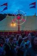 A large crowd watch as Johnny Depp presents his favourite films in Cineramageddon - The 2017 Glastonbury Festival, Worthy Farm. Glastonbury, 22 June 2017