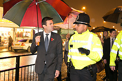 © Licensed to London News Pictures. 03/11/2015. Alum Rock, Birmingham, UK. Shadow Home Secretary ANDY BURNHAM visiting Alum Rock in Birmingham to launch the Labour Policy on Policing. Pictured from left to right, ANDY BURNHAM, Sgt IFTI ALI. Photo credit : Dave Warren/LNP