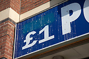 Sign for the pound shop and discount brand Pound Palace in Birmingham, United Kingdom.