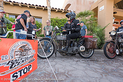 Cris Sommer Simmons of Hawaii riding her 1915 Harley-Davidson as she arrives at the finish line in Palm Desert during the Motorcycle Cannonball Race of the Century. Stage-14 ride from Lake Havasu CIty, AZ to Palm Desert, CA. USA. Saturday September 24, 2016. Photography ©2016 Michael Lichter.