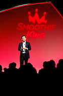 Wan Kim, CEO of Smoothie King, talks at the reveal of the company's new logo design.