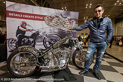 Ken Nagai of Ken's Factory in Nagoya Japan and Longbeach, California at the Mooneyes Yokohama Hot Rod & Custom Show. Yokohama, Japan. December 6, 2015.  Photography ©2015 Michael Lichter.