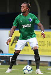 """Brighton and Hove Albion's Gaetan Bong during a pre season friendly match at The Cherry Red Records Stadium, Kingston Upon Thames. PRESS ASSOCIATION Photo. Picture date: Saturday July 21, 2018. Photo credit should read: Mark Kerton/PA Wire. EDITORIAL USE ONLY No use with unauthorised audio, video, data, fixture lists, club/league logos or """"live"""" services. Online in-match use limited to 75 images, no video emulation. No use in betting, games or single club/league/player publications."""