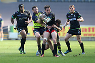 Sam Davies of the Ospreys © is held up by Robbie Henshaw of Leinster as he breaks for the line. Guinness Pro12 rugby match, Ospreys v Leinster Rugby at the Liberty Stadium in Swansea, South Wales on Saturday 8th April 2017. <br /> pic by Andrew Orchard,