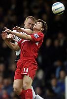 Fotball<br /> Premier League England<br /> 2004/2005<br /> 16.10.2004<br /> Foto: BPI/Digitalsport<br /> NORWAY ONLY<br /> <br /> Fulham v Liverpool<br /> <br /> Xabi Alonso scraps in the air against Mark Pembridge