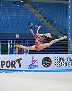 Dict Weng Kwan during qualifying at clubs in Pesaro World Cup at Adriatic Arena on April 27, 2013. Kwan was born in Selangor, Malaysia on February 01,1995. She is a rhythmic gymnast  member of the Malaysia team.