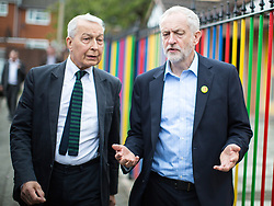© Licensed to London News Pictures . Liverpool , UK . FILE PICTURE DATED 24/09/2016 of JEREMY CORBYN and FRANK FIELD (l) at Beaconsfield Community House in Birkenhead . Frank Field , MP for Birkenhead , has quit the Labour Party after 40 years , saying the party has become a force for anti-Semitism . Photo credit : Joel Goodman/LNP