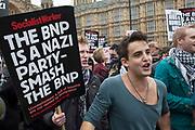 London, UK. Saturday 1st June 2013. Demontrators in Westminster to protest against fascism and the BNP who held a small rally nearby. Unite Against Fascism organised this counter-demonstration in which police had to keep both sides apart.