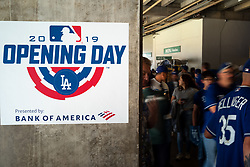 March 28, 2019 - Los Angeles, California, U.S. - Fans arrive for Opening Day at Dodger Stadium Thursday, March 28, 2019. (Credit Image: © David Crane/SCNG via ZUMA Wire)