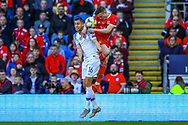 Wales defender Connor Roberts and Slovakia defender David Hancko clash in the air during the UEFA European 2020 Qualifier match between Wales and Slovakia at the Cardiff City Stadium, Cardiff, Wales on 24 March 2019.