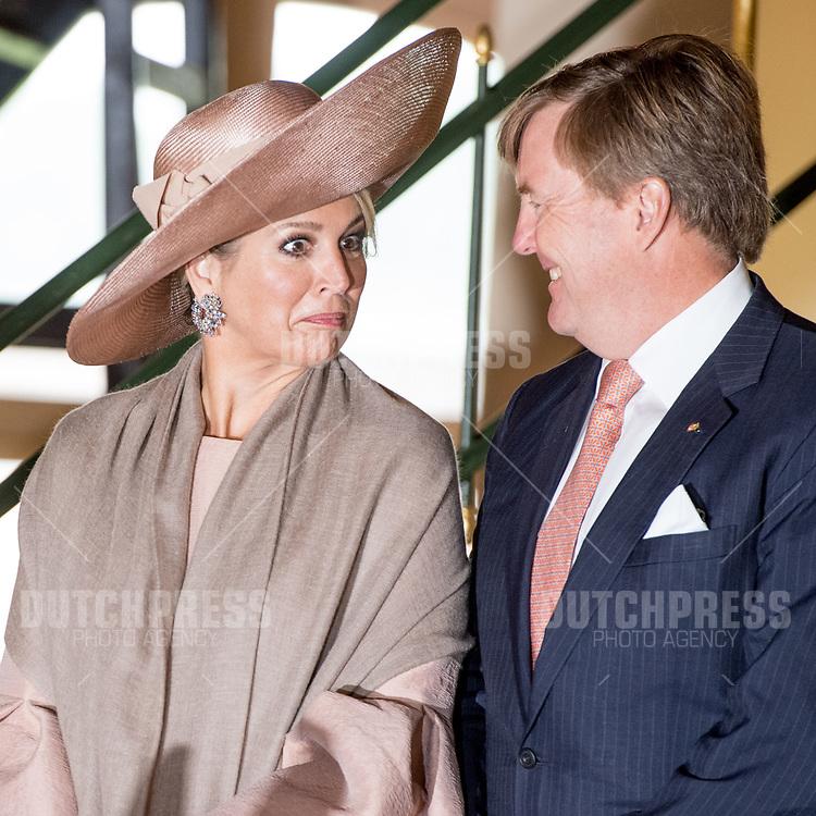 Koning Willem-Alexander en koningin Maxima tijdens een bezoek aan Wissenschaftspark Albert Einstein in Postdam, Duitsland.