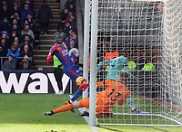 Football - 2018 / 2019 Premier League - Crystal Palace vs. Arsenal<br /> <br /> Pierre - Emerick Aubameyang of Arsenal turns away after the ball had crossed the line for goal no 2, at Selhurst Park.<br /> <br /> COLORSPORT/ANDREW COWIE
