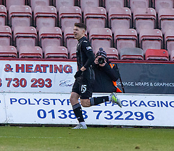 Dunfermline's Kevin Nisbet cele scoring their first goal. half time : Dunfermline 4 v 0 Partick Thistle, Scottish Championship game played 30/11/2019 at Dunfermline's home ground, East End Park.