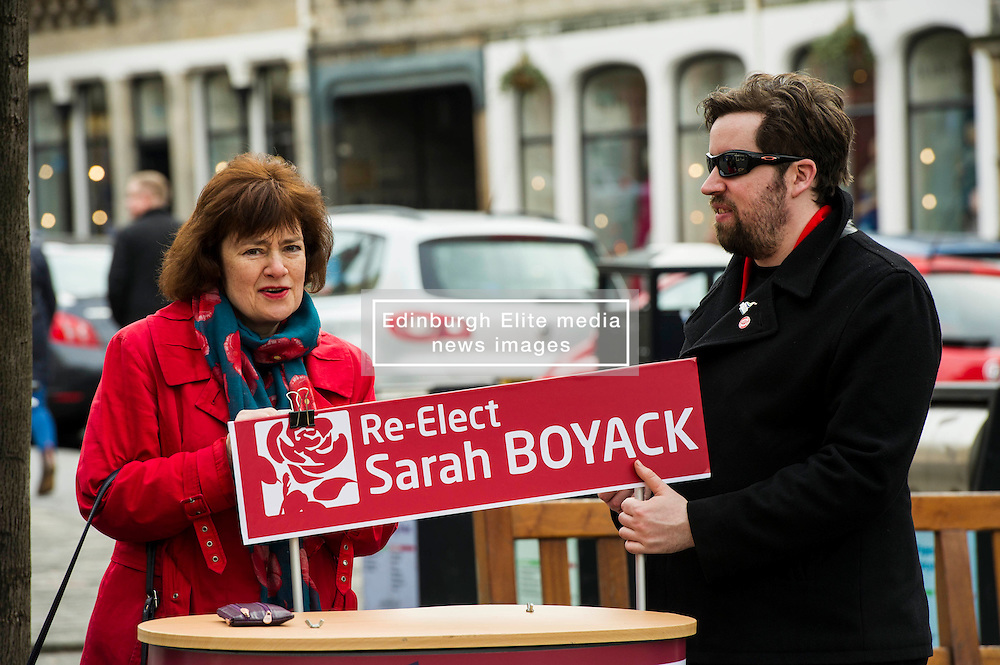 Pictured: Sarah Boyack not afraid to get her hands dirty on the campaign trai<br /> <br /> Scottish Labour deputy leader Alex Rowley was joined by the party's environment spokeswoman Sarah Boyack and party activists at a farmers' market in the Grassmarket, Edinburgh today. <br /> <br /> Ger Harley | EEm 1 April 2016