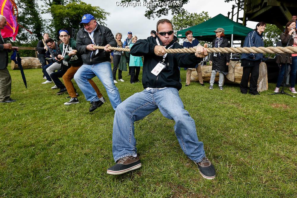 Rob Caulfield during the Tug of War at the Caulfield/Mulryan family reunion at Ardenode Stud, County Kildare, Ireland on Sunday, June 23rd 2013. (Photo by Brian Garfinkel)