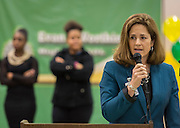 Jennifer Topper comments during a beam signing ceremony at Worthing High School, December 11, 2014.