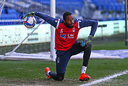 Nottingham Forest's Brice Samba (30) in action during the pre-match warm-up before the EFL Sky Bet Championship match between Cardiff City and Nottingham Forest at the Cardiff City Stadium, Cardiff, Wales on 2 April 2021.