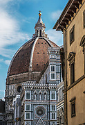 Florence, Exterior of the domed cathedral of the city, Santa Maria del Fiore, known as The Duomo
