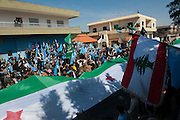 Wadi Ghaled, Lebanon. Demonstration of lebanese inhabitants and syrian refugees to support the Syrian revolution.