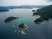 Aerial view of Honda Bay area and islands at its mouth.<br />Adjacent to Coiba National Park.<br />Panama