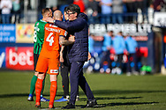 Luton Town interim manager Mick Harford hugs Luton Town midfielder Alan McCormack during the EFL Sky Bet League 1 match between Luton Town and Coventry City at Kenilworth Road, Luton, England on 24 February 2019.