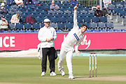 Colin Ackemann bowling  during the Specsavers County Champ Div 2 match between Durham County Cricket Club and Leicestershire County Cricket Club at the Emirates Durham ICG Ground, Chester-le-Street, United Kingdom on 18 August 2019.