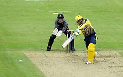 Liam Dawson of Hampshire drives through the covers - Mandatory by-line: Robbie Stephenson/JMP - 19/06/2016 - CRICKET - Cooper Associates County Ground - Taugnton, United Kingdom - Somerset v Hampshire - NatWest T20 Blast