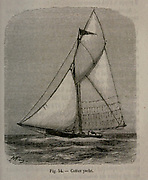 19th century Woodcut print on paper of a cutter yacht from L'art Naval by Leon Renard, Published in 1881