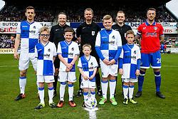 Mascots with Tom Lockyer of Bristol Rovers and Peter Clarke of Oldham Athletic - Rogan Thomson/JMP - 17/04/2017 - FOOTBALL - Memorial Stadium - Bristol, England - Bristol Rovers v Oldham Athletic - EFL Sky Bet League One.