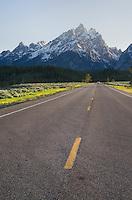 Park road in Grand Teton National Park Wyoming