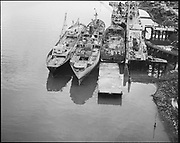 """Ackroyd 14339-3 """"Schnitzer Industires. Aerials of barge with whirly cranes. December 20, 1966"""""""