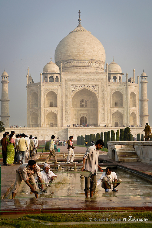 Busy workmen at the Taj Mahal in Agra, Uttar Pradesh, India