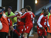 Photo: Jo Caird<br />Peterborough v Bristol City<br />Nationwide Div 2 2004<br />14/02/2004.<br /><br /><br />Tom Doherty celebrates his goal with Lee Peacock