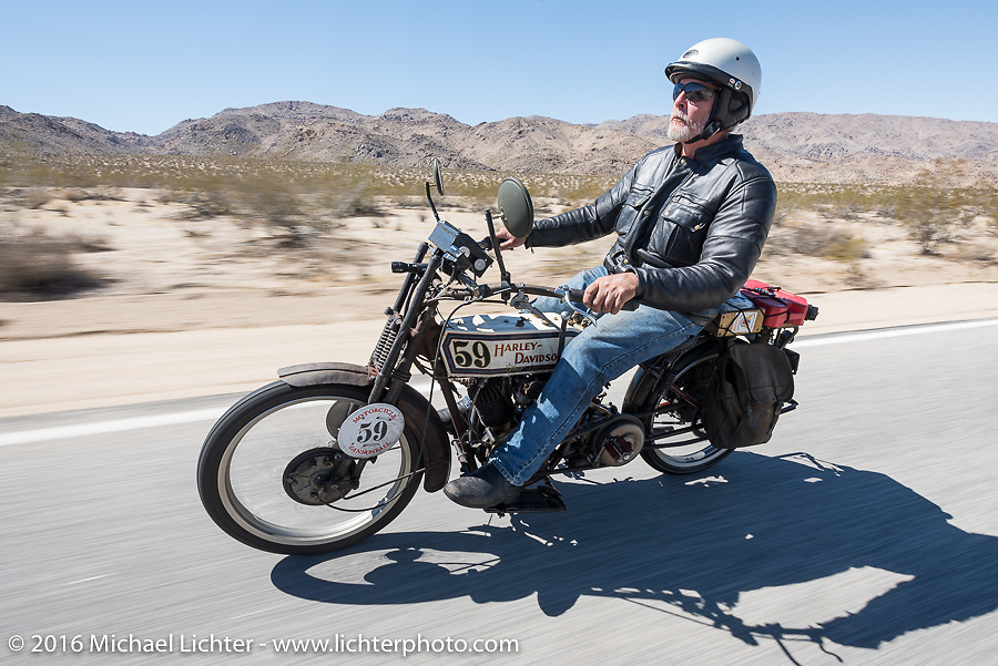 Steve Gonzales of California riding his 1915 Harley-Davidson during the Motorcycle Cannonball Race of the Century. Stage-14 ride from Lake Havasu CIty, AZ to Palm Desert, CA. USA. Saturday September 24, 2016. Photography ©2016 Michael Lichter.
