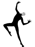 performer man mime with mask dancing dancer on studio isolated on white background