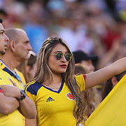 EAST RUTHERFORD, NEW JERSEY - JUNE 17:  Colombia fans during the Colombia Vs Peru Quarterfinal match of the Copa America Centenario USA 2016 Tournament at MetLife Stadium on June 17, 2016 in East Rutherford, New Jersey. (Photo by Tim Clayton/Corbis via Getty Images)