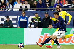 May 15, 2019 - Foxborough, MA, U.S. - FOXBOROUGH, MA - MAY 15: New England Revolution midfielder Nicolas Firmino (29) passes away from Chelsea FC forward Gonzalo Higua'n (9) during the Final Whistle on Hate match between the New England Revolution and Chelsea Football Club on May 15, 2019, at Gillette Stadium in Foxborough, Massachusetts. (Photo by Fred Kfoury III/Icon Sportswire) (Credit Image: © Fred Kfoury Iii/Icon SMI via ZUMA Press)
