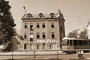 Berlin-Grünau. GERMANY.   Derelict building, with a tram passing.  on the corner of Wassersportallee and Regattastrasse, Berlin-Grünau.  Frühregatta.  Saturday 30/04/2011 [Mandatory Credit; Peter Spurrier/Intersport-images]