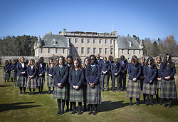 Pupils at the Duke of Edinburgh's former school, Gordonstoun in Moray, observe the one minute silence on the day of his funeral. The Duke of Edinburgh's funeral takes place in St George's Chapel, at Windsor Castle, Berkshire. Picture date: Saturday April 17, 2021.