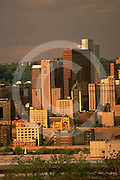 Pittsburgh, PA, Skyline from Northside, Historic and Modern Hi-Rises,