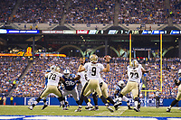 August 23, 2014: New Orleans Saints quarterback Drew Brees (9) passes during a week 3 preseason football game between the Indianapolis Colts vs New Orleans Saints at Lucas Oil Stadium in Indianapolis, IN. NFL American Football Herren USA AUG 23 Preseason - Saints at Colts PUBLICATIONxINxGERxSUIxAUTxHUNxRUSxSWExNORxONLY Icon1408230584<br /> <br /> August 23 2014 New Orleans Saints Quarterback Drew Brees 9 Pass during A Week 3 Preseason Football Game between The Indianapolis Colts vs New Orleans Saints AT Lucas Oil Stage in Indianapolis in NFL American Football men USA Aug 23 Preseason Saints AT Colts PUBLICATIONxINxGERxSUIxAUTxHUNxRUSxSWExNORxONLY