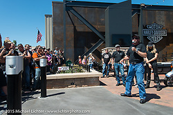 The official chain cutting ceremony for the brand new Harley-Davidson Rally Point on the corner of Main Street and Harley Way during the 75th Annual Sturgis Black Hills Motorcycle Rally.  SD, USA.  July 31, 2015.  Photography ©2015 Michael Lichter.