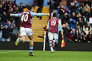 Jordan Ayew of Aston Villa celebrates after he scores his teams 1st goal. Barclays Premier league match, Aston Villa v Swansea city at Villa Park in Birmingham, the Midlands on Saturday 24th October 2015.<br /> pic by  Andrew Orchard, Andrew Orchard sports photography.